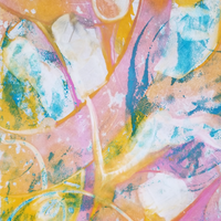 It's Our Birthday by Kim Roberts, Encaustic Monotype on Rice Paper