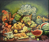 Still Life with Watermelon, Grapefruit, Pear, Croissant, Vase, Flowers, Cherry by Abdul Razzak Zaarur, Oil on Canvas