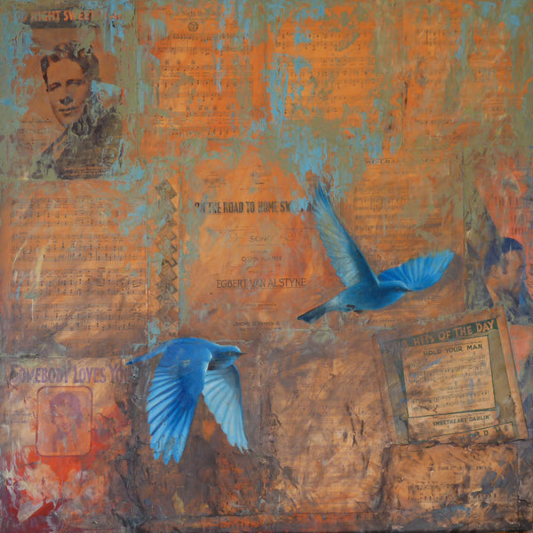 """Somebody Loves You"" by Adam Thomas, Mixed Media on Antique Sheet Music, Mounted on Panel"