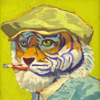 """Tiger"" by Miguel Reyes, Oil on Board"