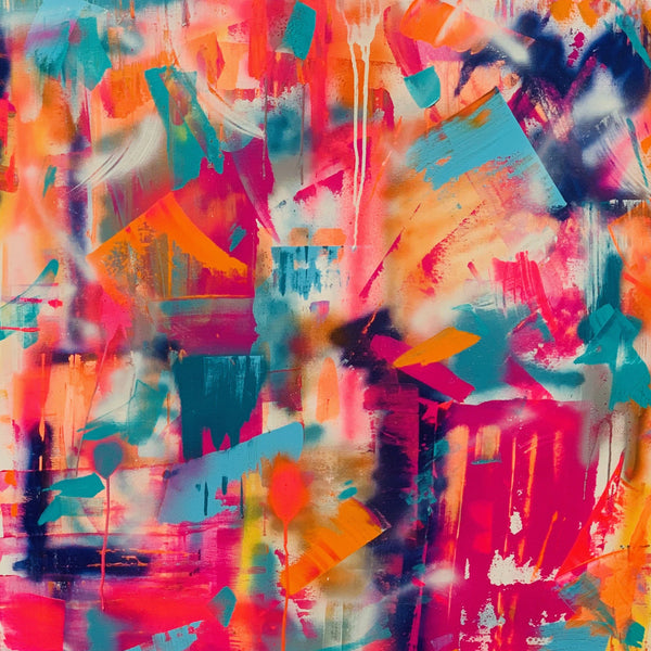 """Tequila Sunrise"" by Rachel Camilleri , Acrylic, Spray Paint and Varnish"