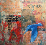 """The Barbarian"" by Adam Thomas, Mixed Media on Antique Sheet Music, Mounted on Panel"