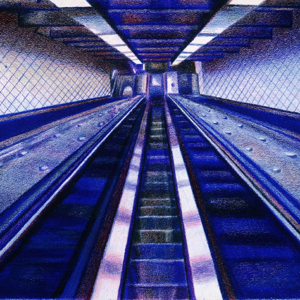 """The 181 Escalators Washington Heights"" by Len Cicio, Colored Pencil on Strathmore Acid Free Paper"