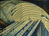 """The Canary Wharf London Underground"" by Len Cicio, Colored Pencils on Strathmore Paper"