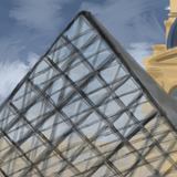 """The Louvre"" by Raheem Nelson, Digital Painting Printed on Canvas"
