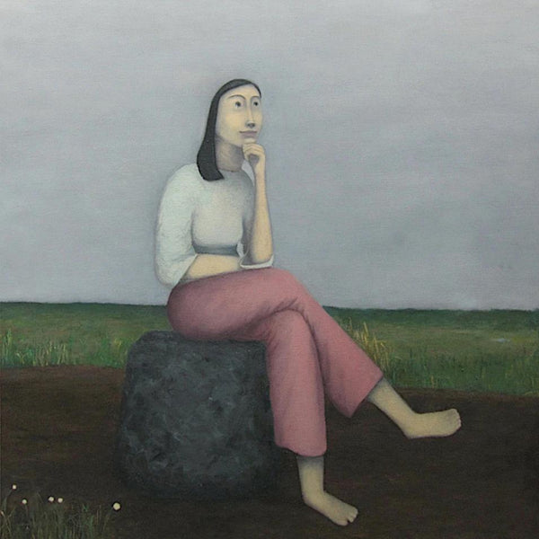"""Thinking or Not Thinking"" by Nipat Jenjirawat, Oil on Linen"