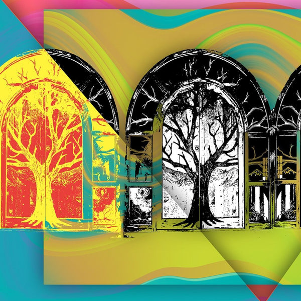 """Tree Houses"" by Brenda Star, Digital Abstract on Glossy Metal"