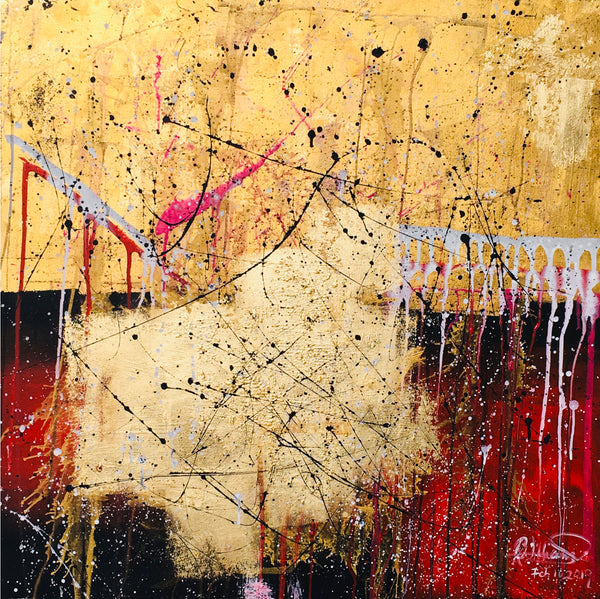 """It Happened"" By Raeanne Williams, Acrylic and Gold Leaf on Canvas"