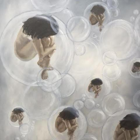 """Bubbling Women"" by Miri Baruch, Oil on Canvas"