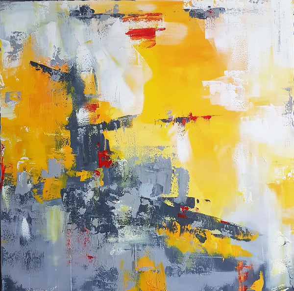 """Yellow and Grey"" by Mary Vinnikova, Acrylic on Canvas"