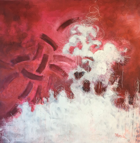 """Flamenco in Red"" by Laurie Maves, Mixed Media on Canvas"