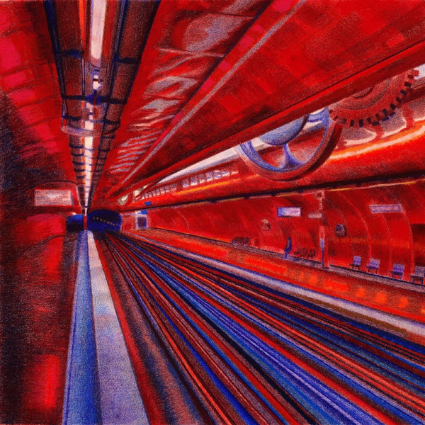 """The Paris Metro"" by Leonard Cicio, Colored Pencils on Strathmore Acid Free Paper"