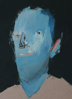 """Blue Head"" by Petar Katavic, Acrylic on Cardboard"