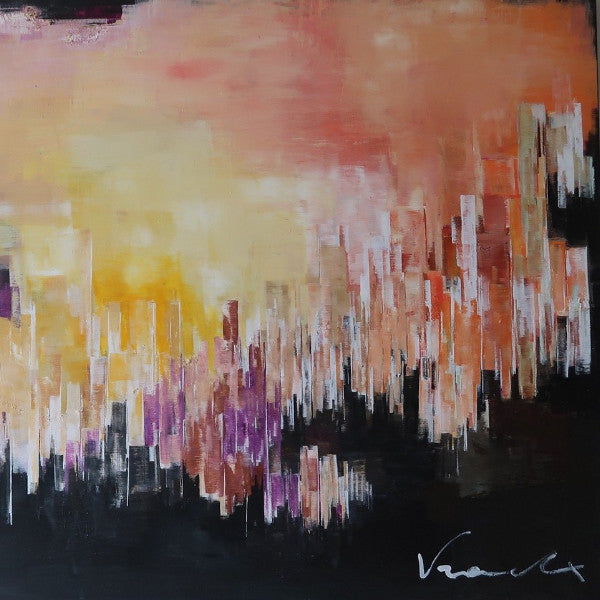 """City on Fire"" by Anna Vranckx, Acrylic on Canvas"