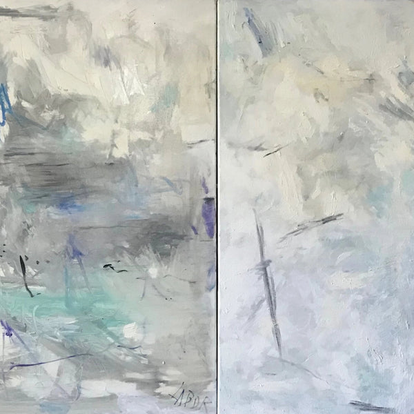 "Diptych, ""Painting is My Country"" by Labor Robert, Oil on Canvas"
