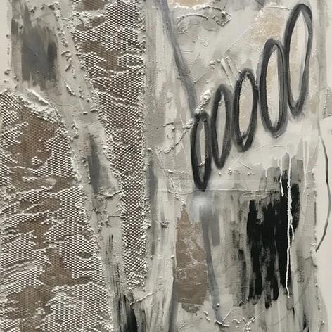 """Thoughtprints on Quicksand Series No. 2"" by Ewa Jaros, Concrete and Acrylic on Canvas"