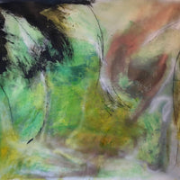 "Modern Abstract ""Lime"" 48""x43"" Mixed media on canvas Contemporary Painting"