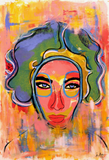 """Liz Taylor's Death Mask"" by Sharon Volpe, Mixed Media on Fine Art Paper"
