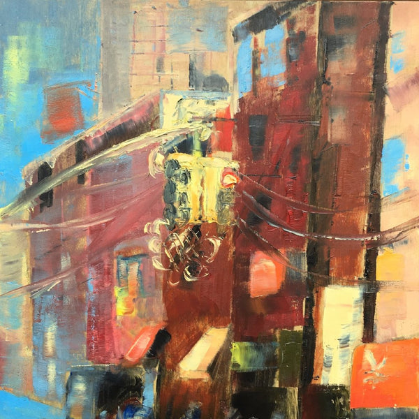 """Mott Street"" by Zacaffeine, Oil on Birch Panel"