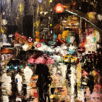 """Rainy Night"" by Vera Kober, Acrylic on Canvas"