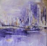 """Purple Waters"" by Anna Vranckx, Acrylic on Canvas"
