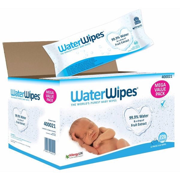 WaterWipes Baby Wipes,12x60 (720 Wipes)   مناديل مبللة 60 منديل 12 عبوة 720 منديل من ماركة ووتر وايبس