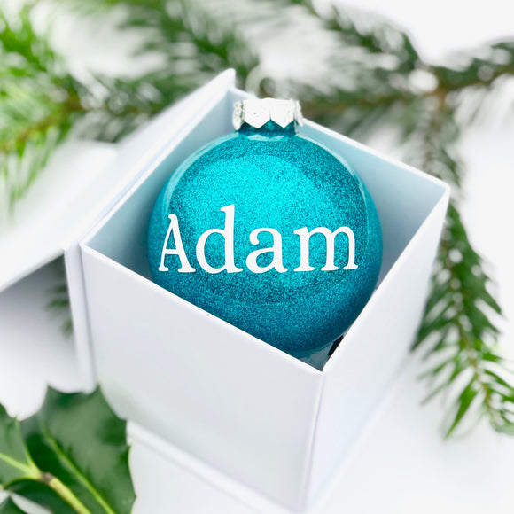 Personalised blue glass bauble - hand finished in window gift box