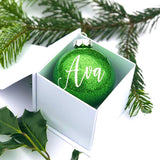 Personalised green glass bauble - hand finished in window gift box