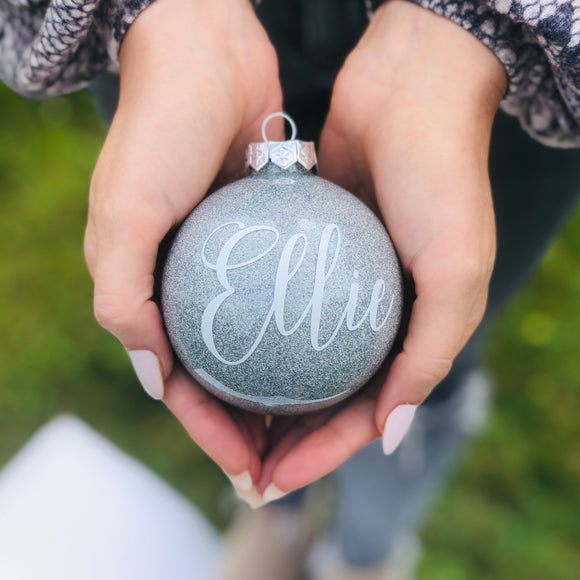 Personalised silver glass bauble - hand finished in window gift box