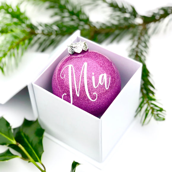 Personalised pink glass bauble - hand finished in window gift box