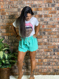 Scalloped Tie Front Shorts Mint