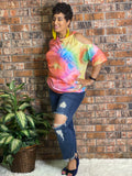 Cold Shoulder Tie Dye Top