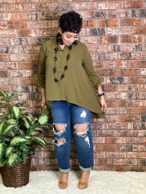 High Low top Olive