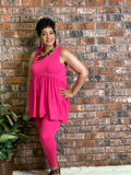 2 Piece Ruffle Tank Tunic Set-Hot Pink