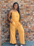 REGULAR And PLUS Spaghetti Strap Jumpsuit-Mustard