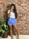 Blue Tie Dye Drawstring Shorts