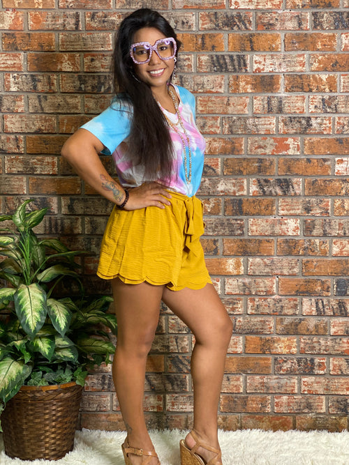 Scalloped Tie Front Shorts Mustard