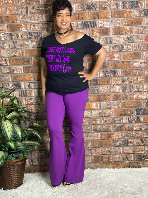 Purple High Waist Flare Jeans