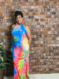 Multicolor Sleeveless Maxi Dress