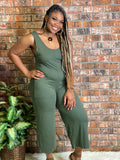 Sleeveless Jumpsuit with Pockets Olive