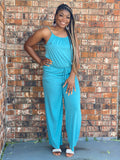 REGULAR  And PLUS Spaghetti Strap Jumpsuit-Teal