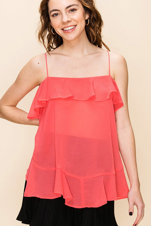 Flowy Coral Top with Ruffle Detail