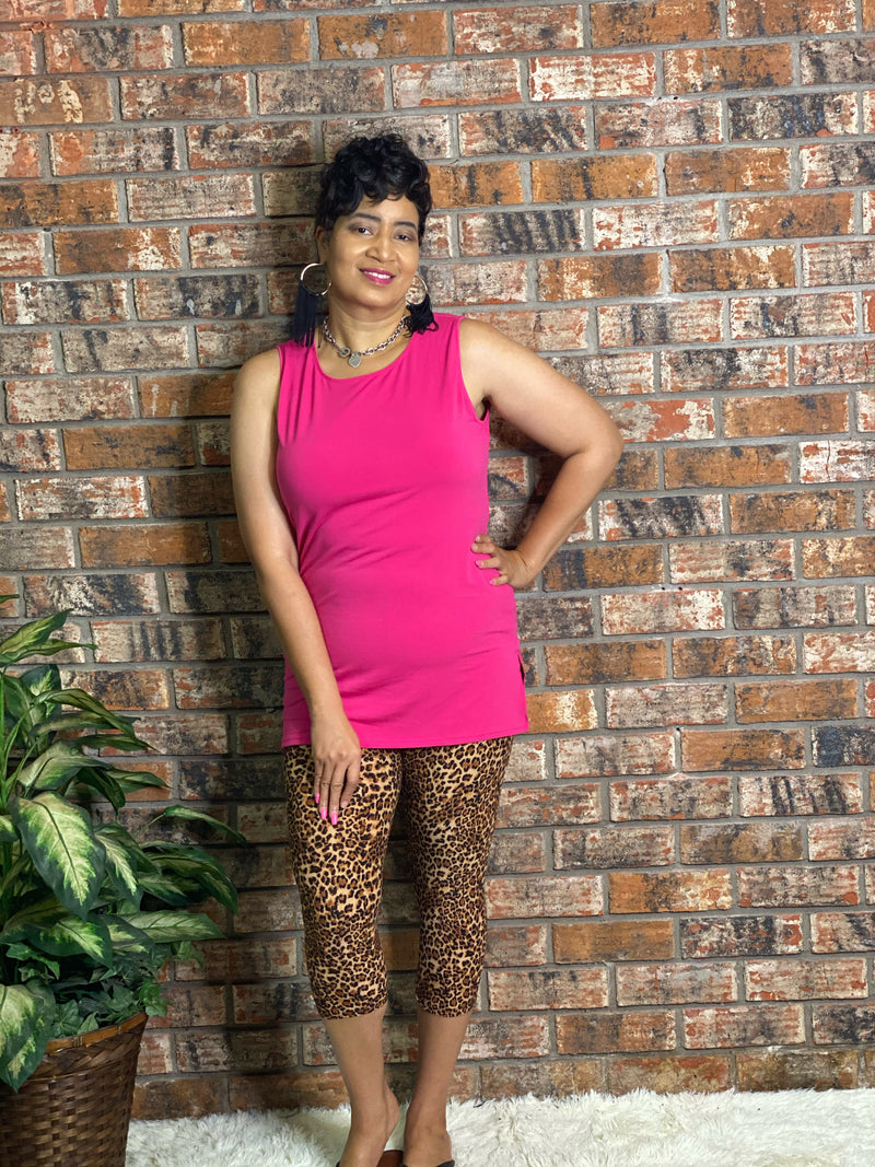 Hot Pink Tank Leopard Capri Set
