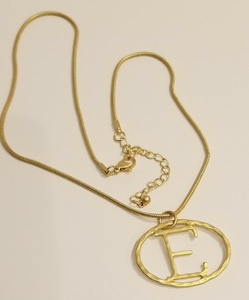 Hammered Yellow Gold Plated Initial Necklace E