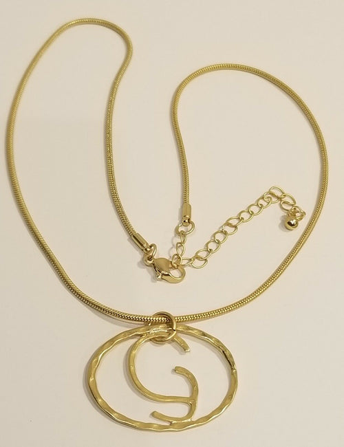 Hammered Yellow Gold Plated Initial Necklace G