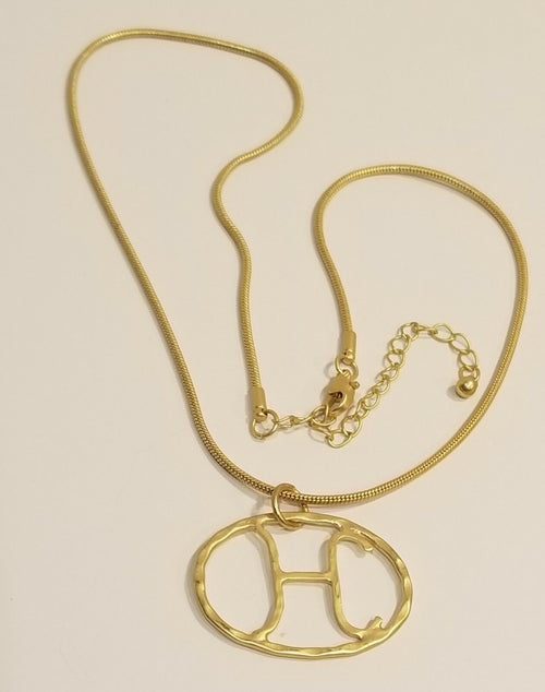 Hammered Yellow Gold Plated Initial Necklace H