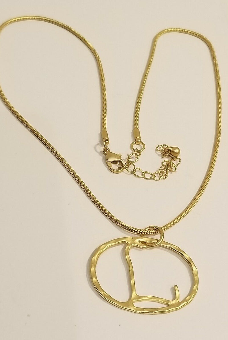 Hammered Yellow Gold Plated Initial Necklace L