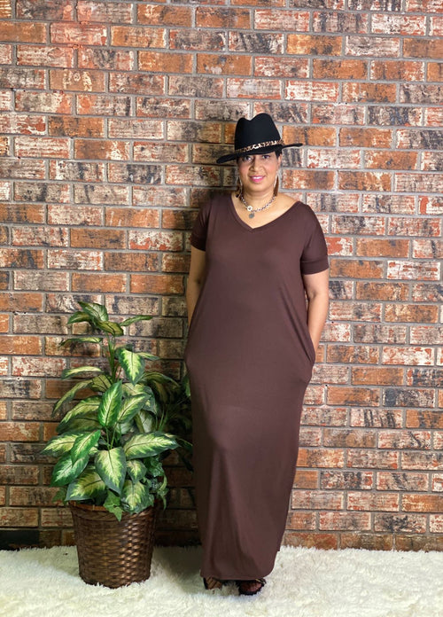 PLUS Short Sleeve Maxi Dress