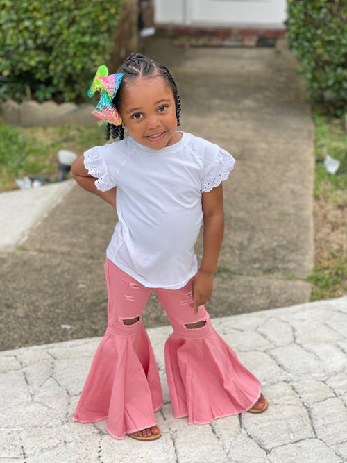 Children Flare Pants-Pink