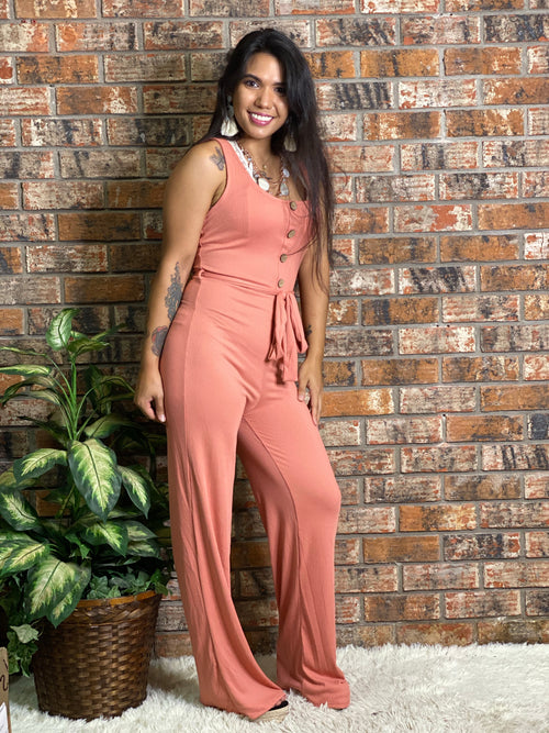 Ribbed Belted Jumpsuit-Pink